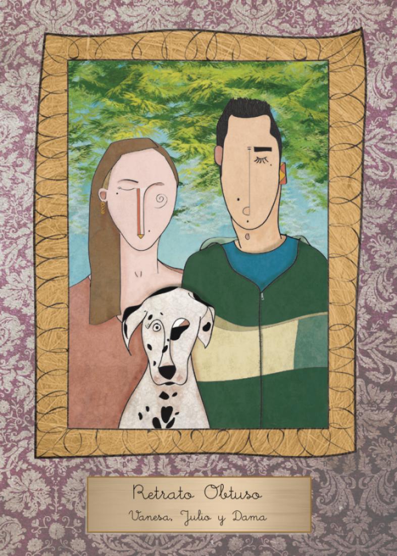 retrato con perro