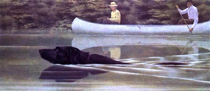 colville alex perro nadando y canoa. 1979